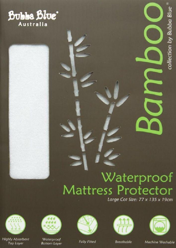 Bubba Blue Bamboo Mattress Protector Cot Large image 0