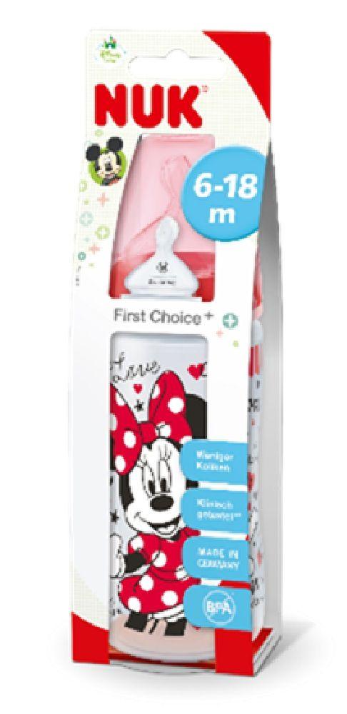 NUK First Choice Plus Bottle - Mickey - Red - 300ml - 6-18 Months - Medium image 1