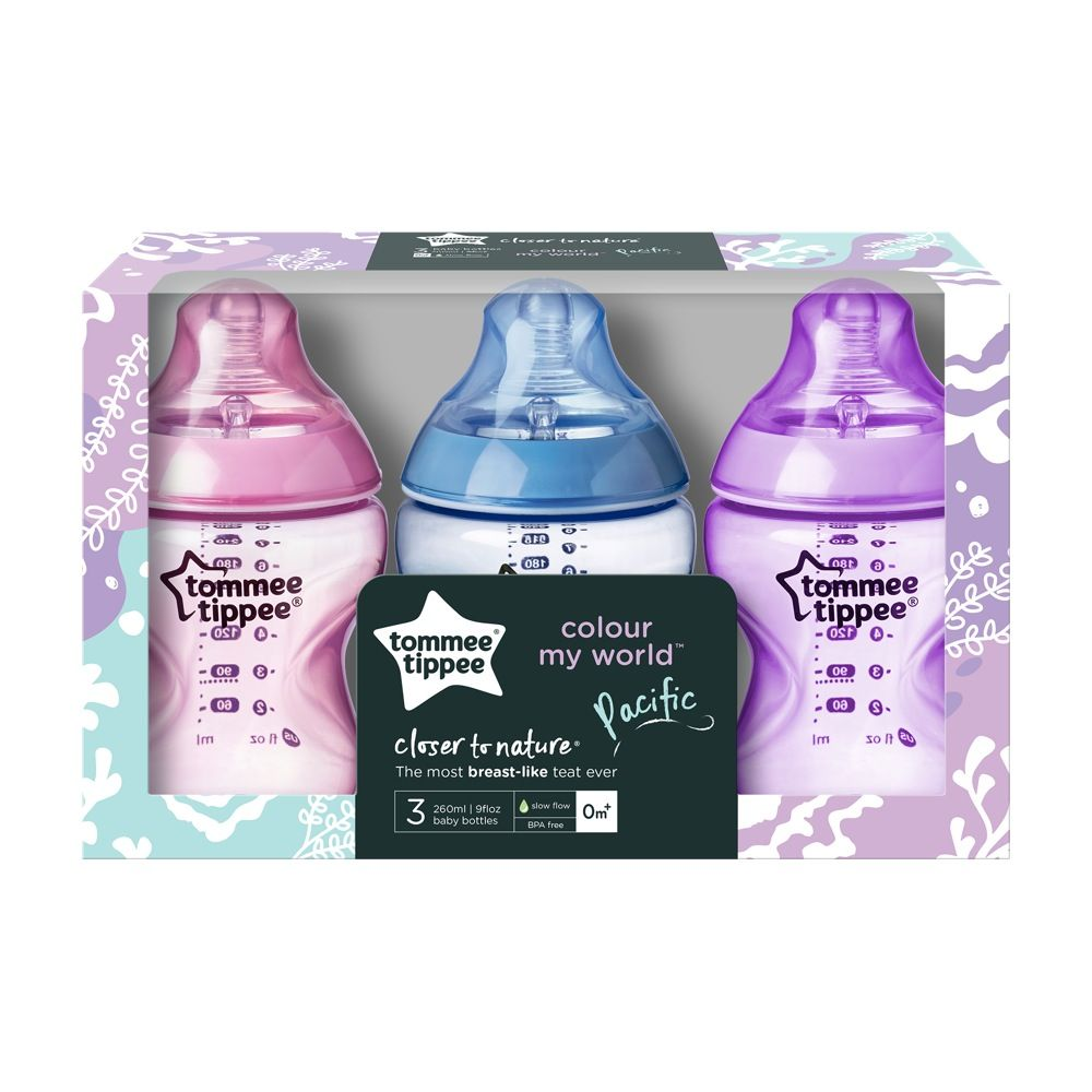Tommee Tippee Closer To Nature Colour My World Bottle - 260ml - Girl - 3 Pack image 1