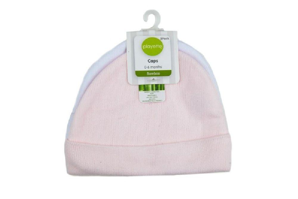 Playette Newborn Caps Bamboo Pink White / Pink 2 Pack image 0