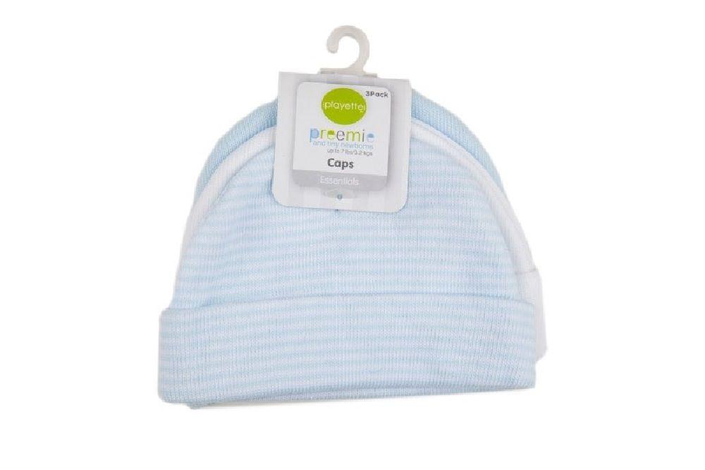 Playette Newborn Caps Bamboo Blue White / Blue 2 Pack image 0
