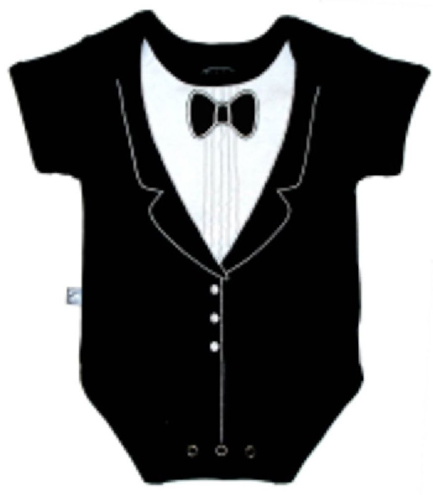 Frenchie Tuxedo Bodysuit Black 3-6M
