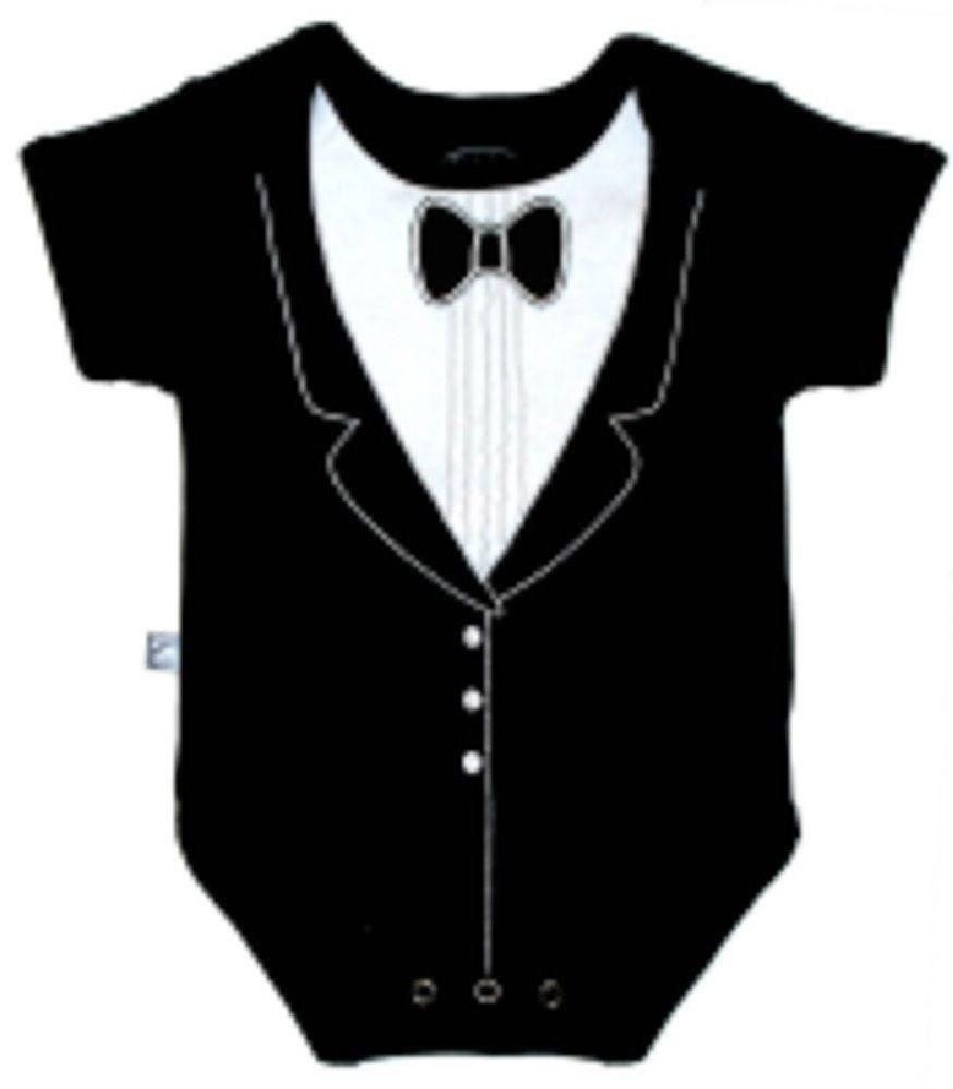 Frenchie Tuxedo Bodysuit Black 6-9M