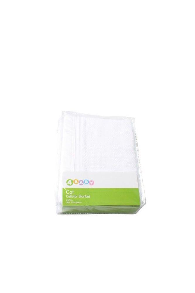 4Baby Cellular Blanket Cot White image 1