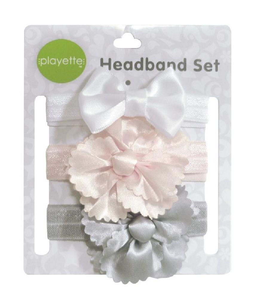 Playette Flower Bow Satin Headbands 3 Pack image 0