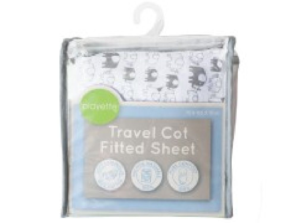 Playette Travel Cot Fitted Sheet White Elephant image 0