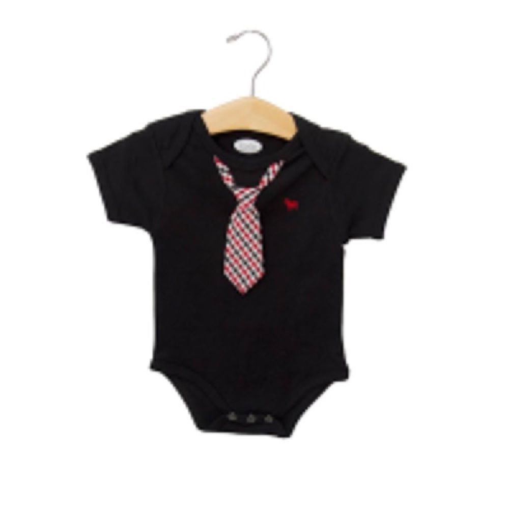 Frenchie Bodysuit with Tie Black/Red Gingham